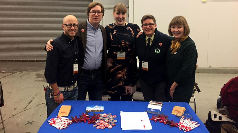 Liam Lair, Andrew Gilbert, Liz Stigler, Katie Batza, and Ann Schofield at the NWSA Conference.