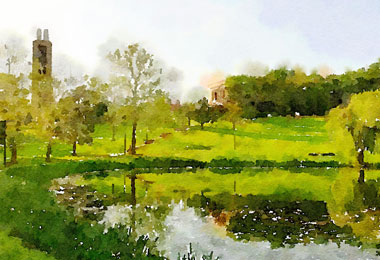 watercolor painting of KU Campanile and Potter lake