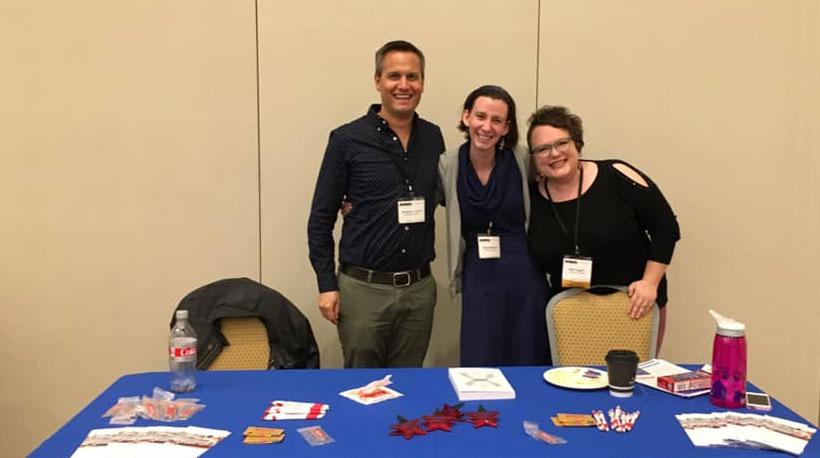 NWSA Conf. 2018 -  Chair Nick Syrett with Ph.D. students Abby Barefoot and Elise Higgins