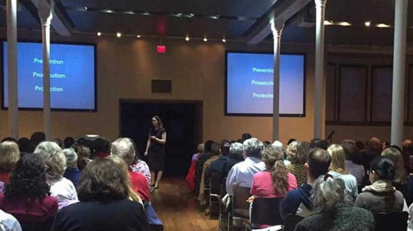 Dr. Hannah Britton presenting Human Trafficking in the Heartland at the Commons on March 22, 2016